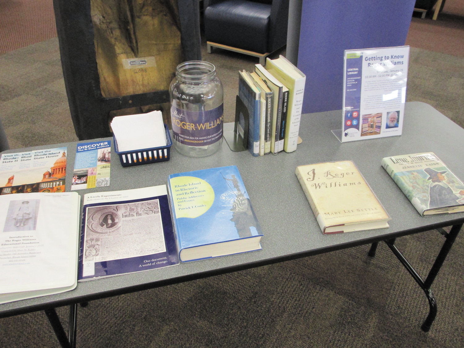 "WEALTH OF MATERIALS: The ""Roving Roger"" exhibit, current at the Cranston Public Library, includes a host of books and other educational materials related to Rhode Island's founder."