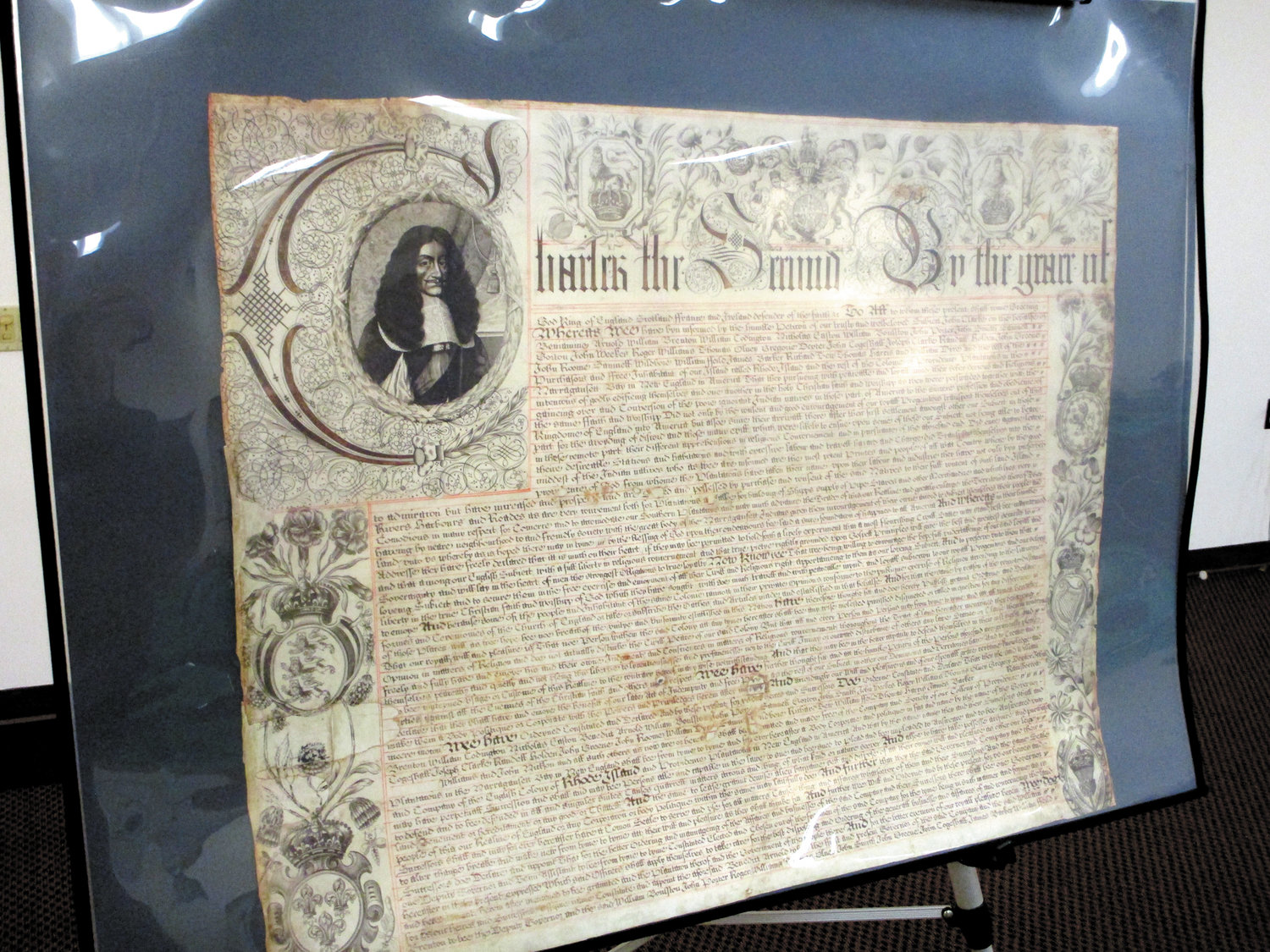 A copy of Rhode Island's royal charter is part of the display at Cranston Public Library's Central Library.