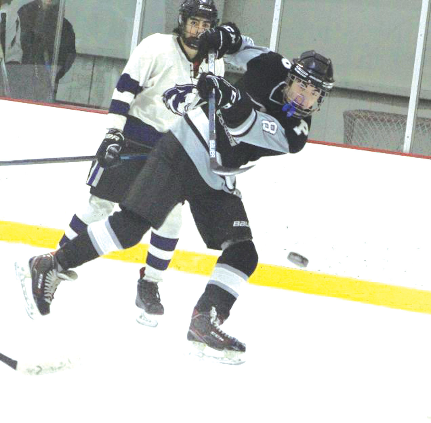 SLAPSHOT: Pilgrim's Sam Clements fires a shot in the semis.