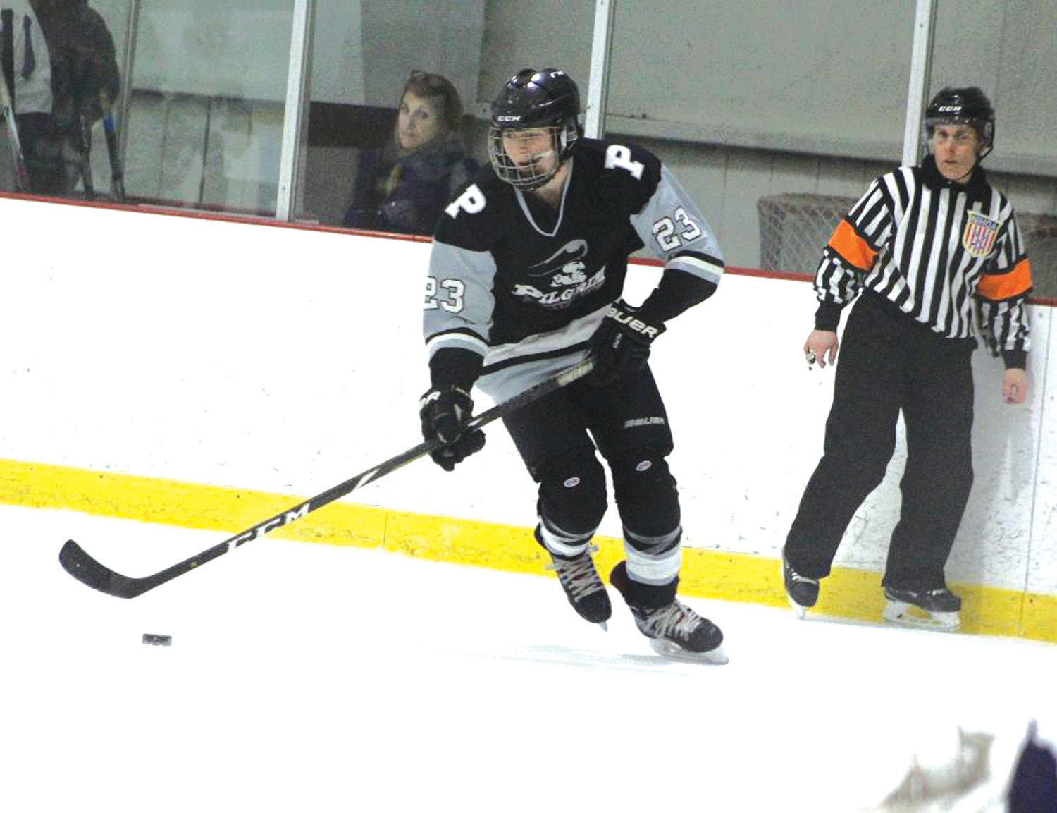 UP THE ICE: Pilgrim's Daniel DeRobbio.