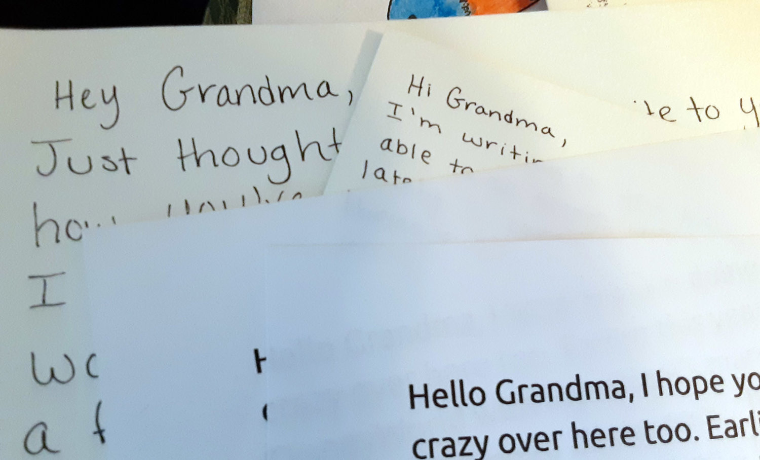 Dear Grandma, things are crazy here too, our kids wrote to their great grandmothers, both in nursing homes, and shared their quarantine experiences with them.