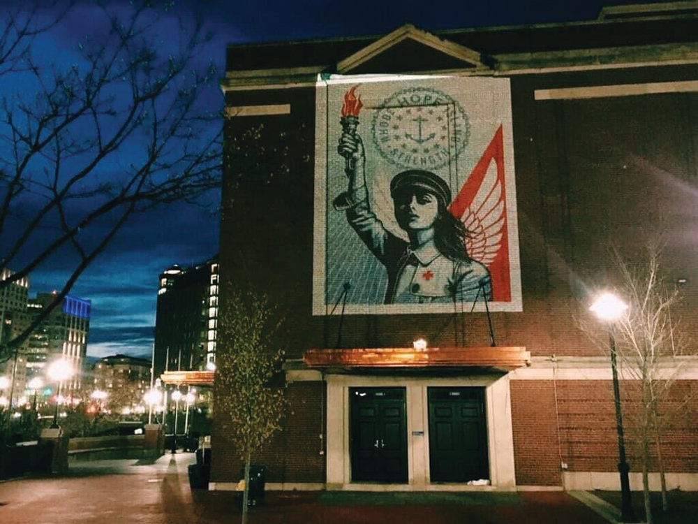 "SHINING THROUGH: ""R.I. Angel of Hope and Strength"" is being projected on two buildings at the Rhode Island School of Design every night this week."