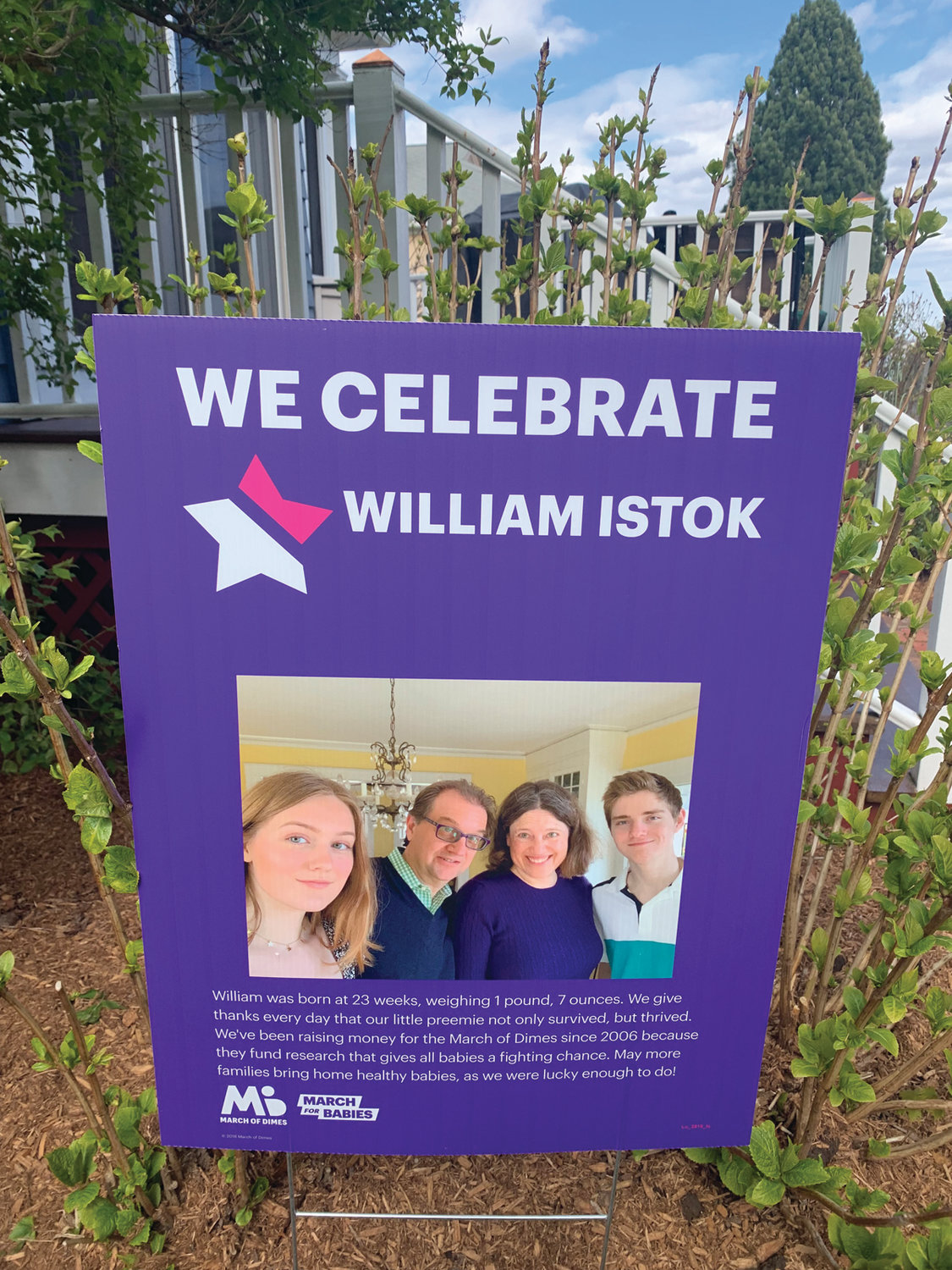 ON A MISSION: The Istok family's mission sign for this year's March for Babies would typically be among those lining the route of the annual event. This year, it sits in their yard.