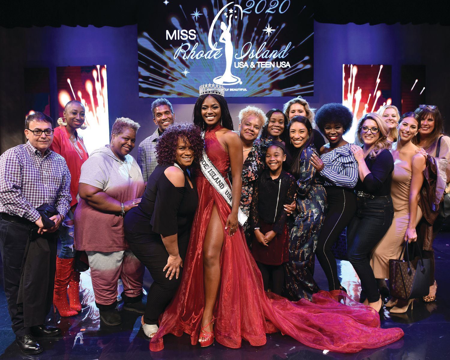 SHOWING SUPPORT: Jonét Nichelle was surrounded by supporters after winning Miss Rhode Island USA. She heads to Memphis on Halloween for the final competition in November.