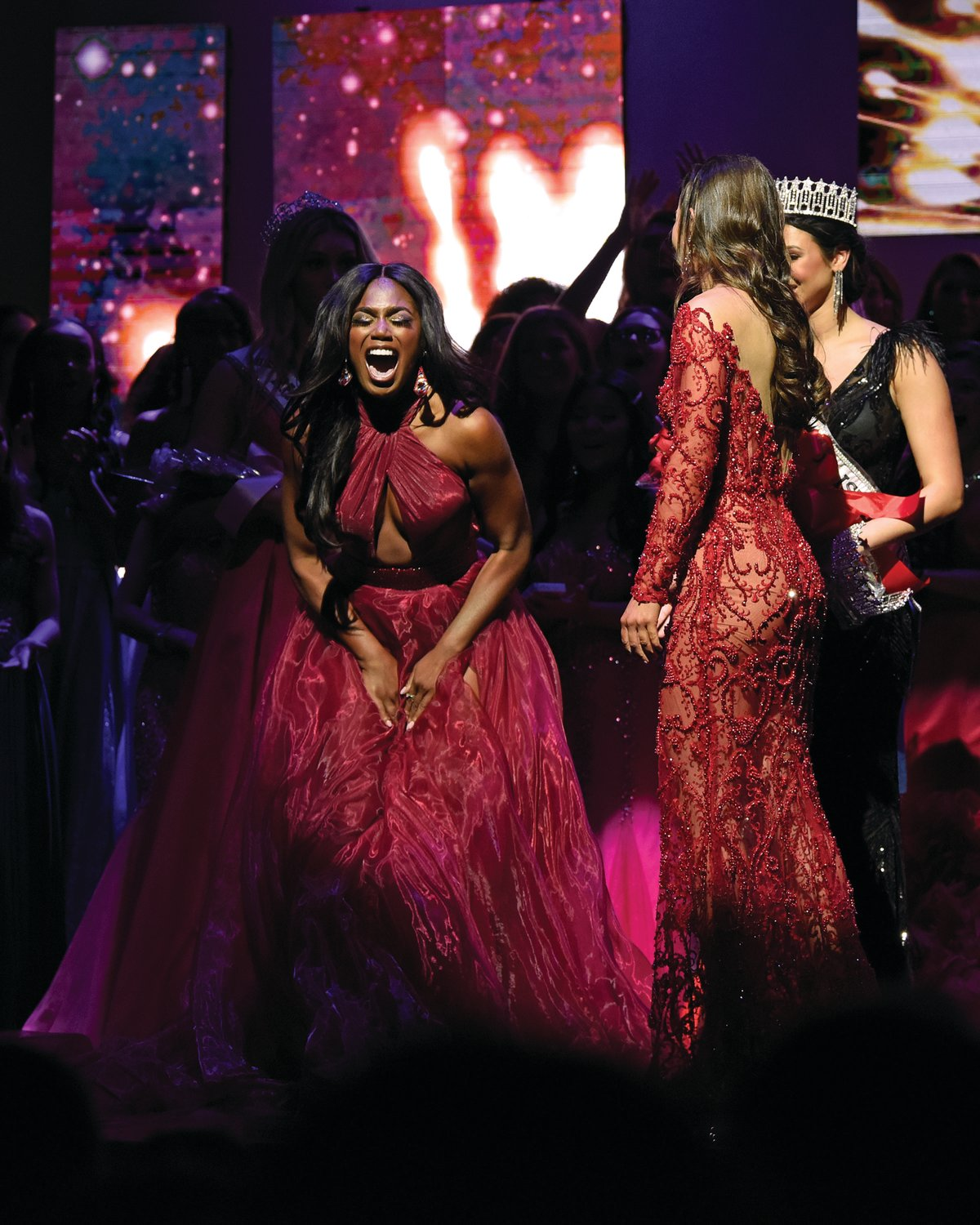 MOMENT OF A LIFETIME: Jonét Nichelle of North Providence let out an excited scream when she was crowned Miss Rhode Island USA.