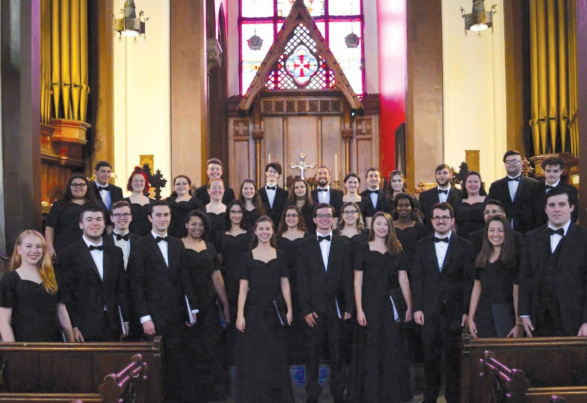 "DEBUT PERFORMANCE:  The members of the Rhode Island College Concert Chorus perform at All Saints Memorial Church in October 2019. It was during this performance that the group debuted ""When I Think of You,"" a virtual recording of which is now being considered for two Grammy Awards."