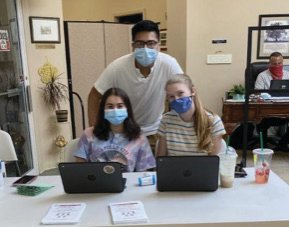 NOTHING STOPS THEM: Kayla Aquilante, Caleb Lee and Ashlyn Banno are seen here at the National Honor Society's annual summer blood drive. Much like the Thanksgiving drive, it was held at the Johnston Senior Center in July.