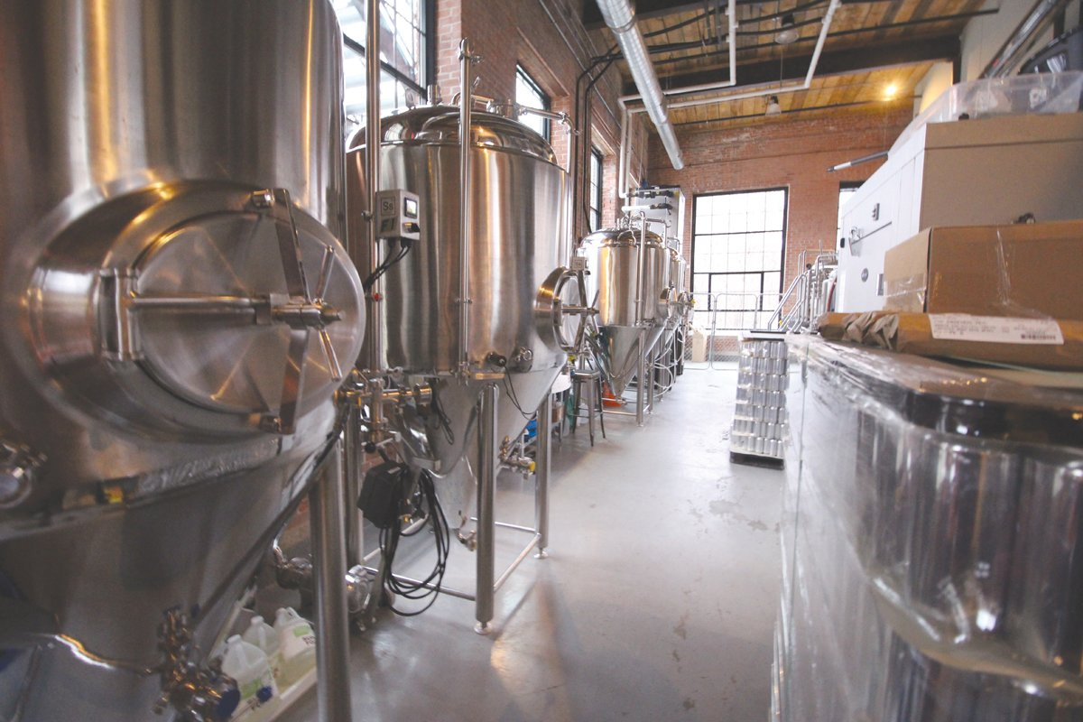 SOMETHING'S BREWING:  The beer is served directly from the tanks at Apponaug Brewing's 310-gallon Brewhouse.