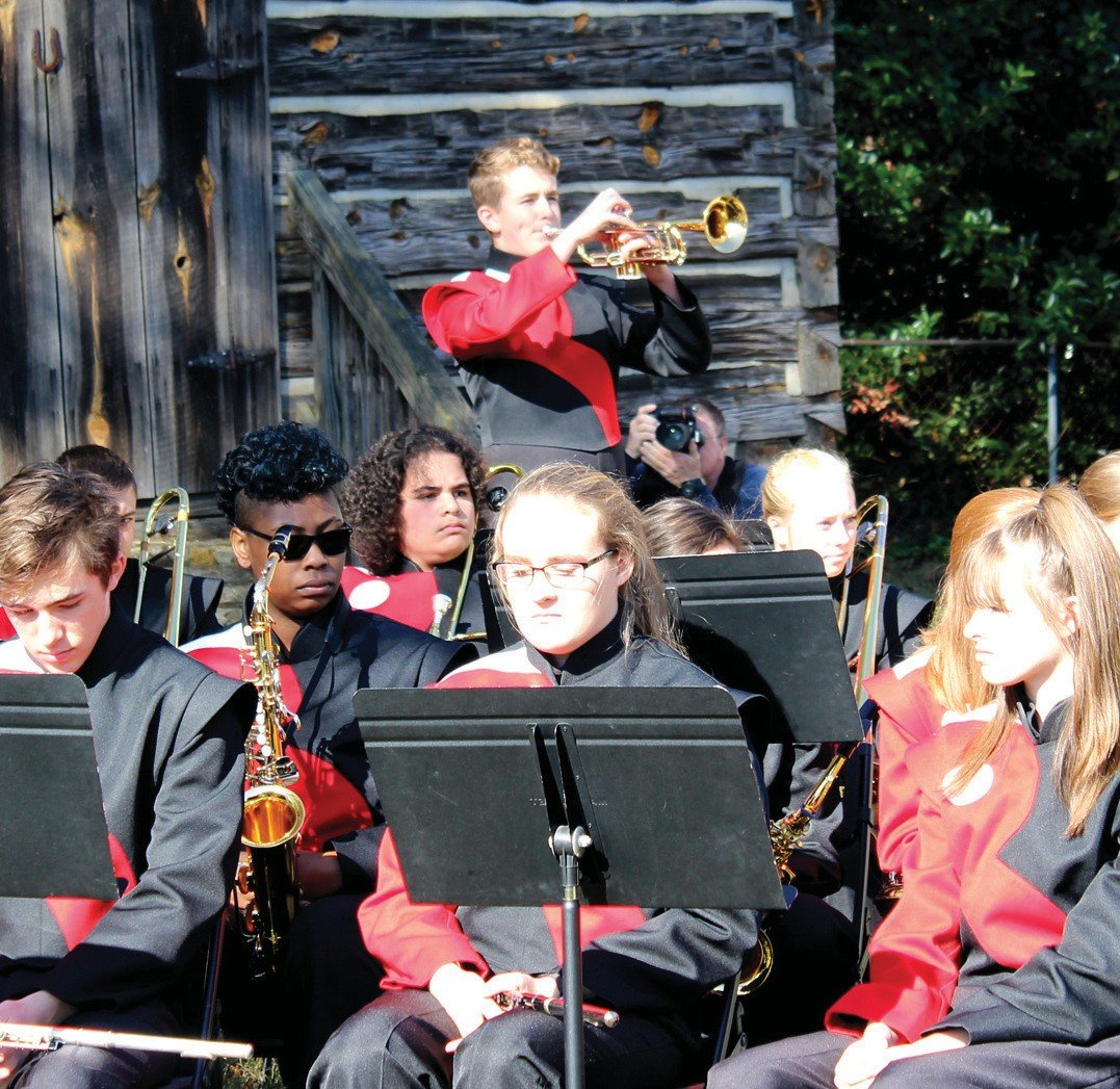 The Roxboro Community School band performed songs for the Armed Forces during the local Veterans Day ceremony held at the Person County Museum of History. Carson Hester, a high school band member, played taps. OLIVIA TOWNSEND | BULLHORN