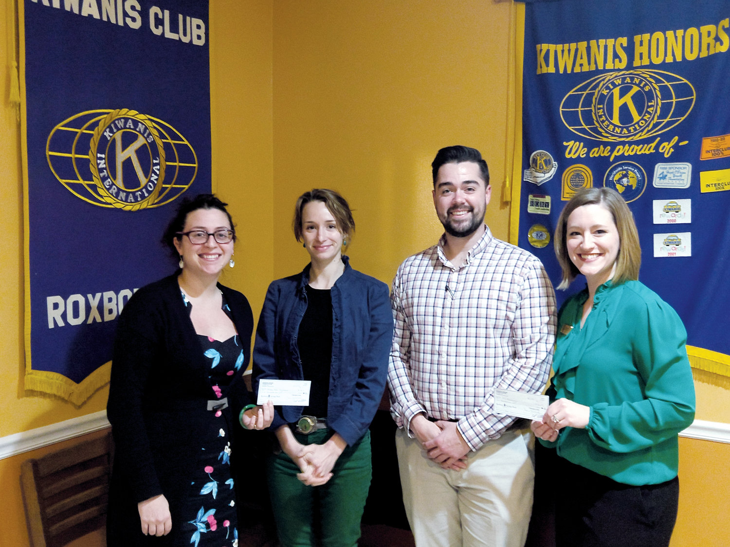 Guests at last week's Roxboro Kiwanis Club meeting included, from left, Erin Ganey Hill, Raleigh Gardner, Chris Forton and Allison Satterfield.