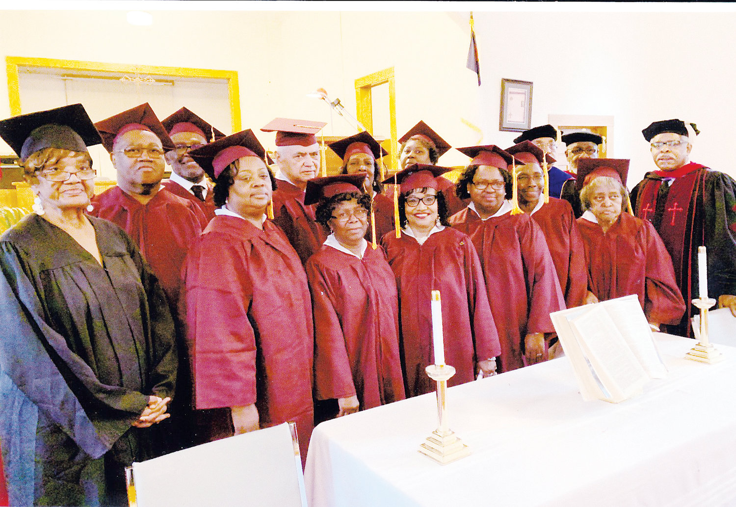 Professors and graduates of the Northern Piedmont Bible Institute include, front row from left, Pat Lee, Martha Winstead, Brenda McEachin, Elizabeth McCoy, Rosa Hester, Lou E. Daye, Beryl Riley and Dr. Langston Logan Sr.; back row from left, Ronnie Torain, Earnest Jefferies, George Naylor, Peggie Oliver, Jennifer Cates, Dr. James Richmond Sr. and Dr. Alfred Faulkner.