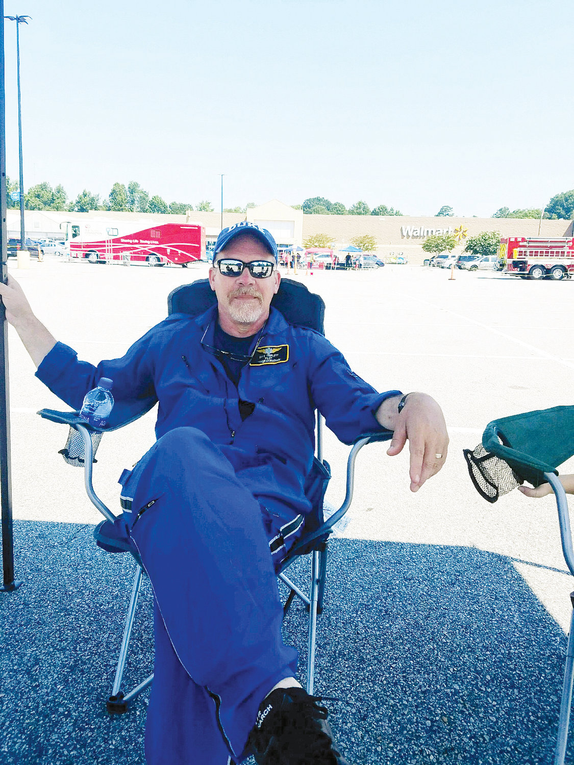 Duke Life Flight pilot Dave Triplett greeted visitors at a recent public safety event in Roxboro.