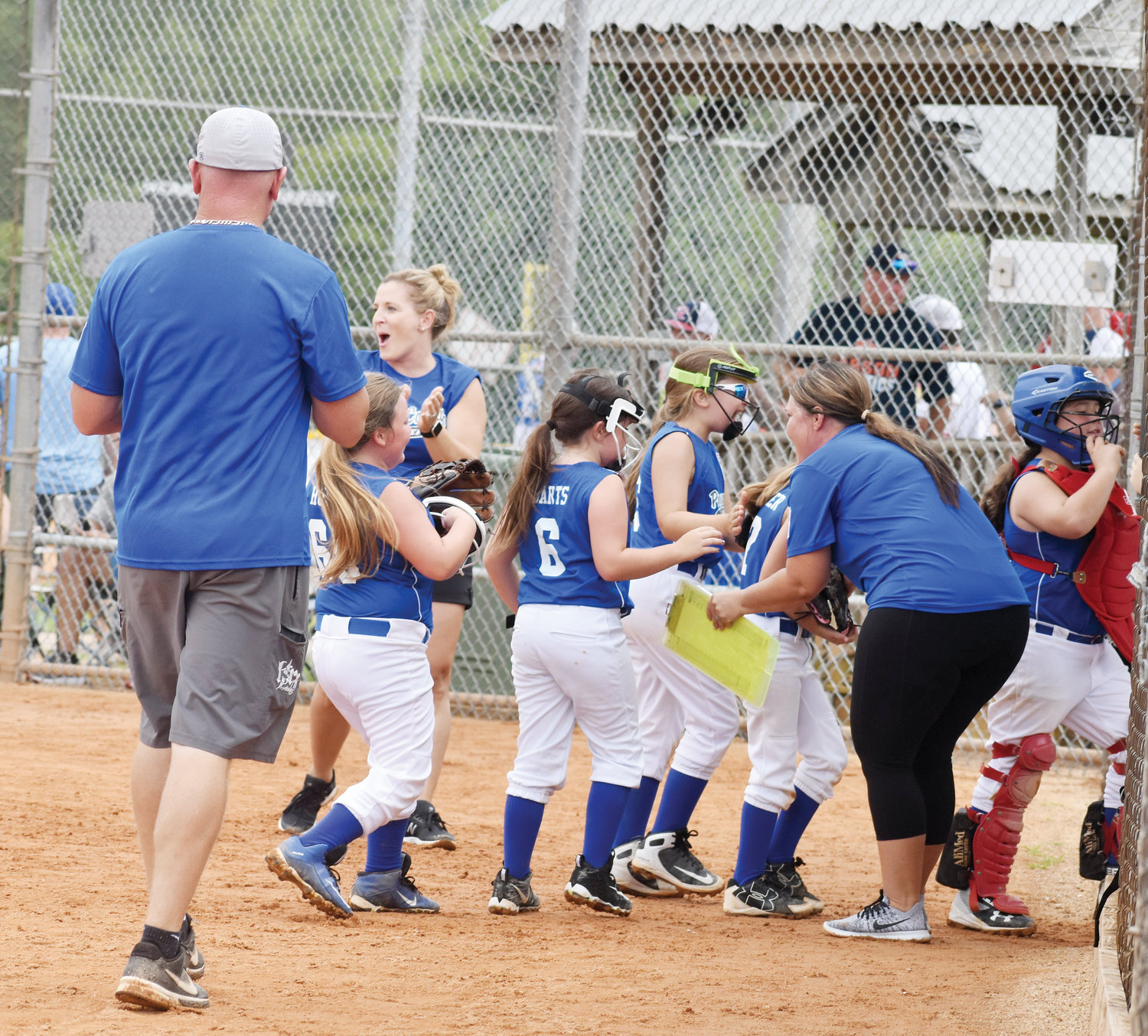 Kelly Snow | The Courier-Times.The Person County 8U All-Star softball team celebrates after defeating Lake Norman, 15-11, last Saturday in the North Carolina Little League State Tournament. The All-Stars will play today in the state semifinals.