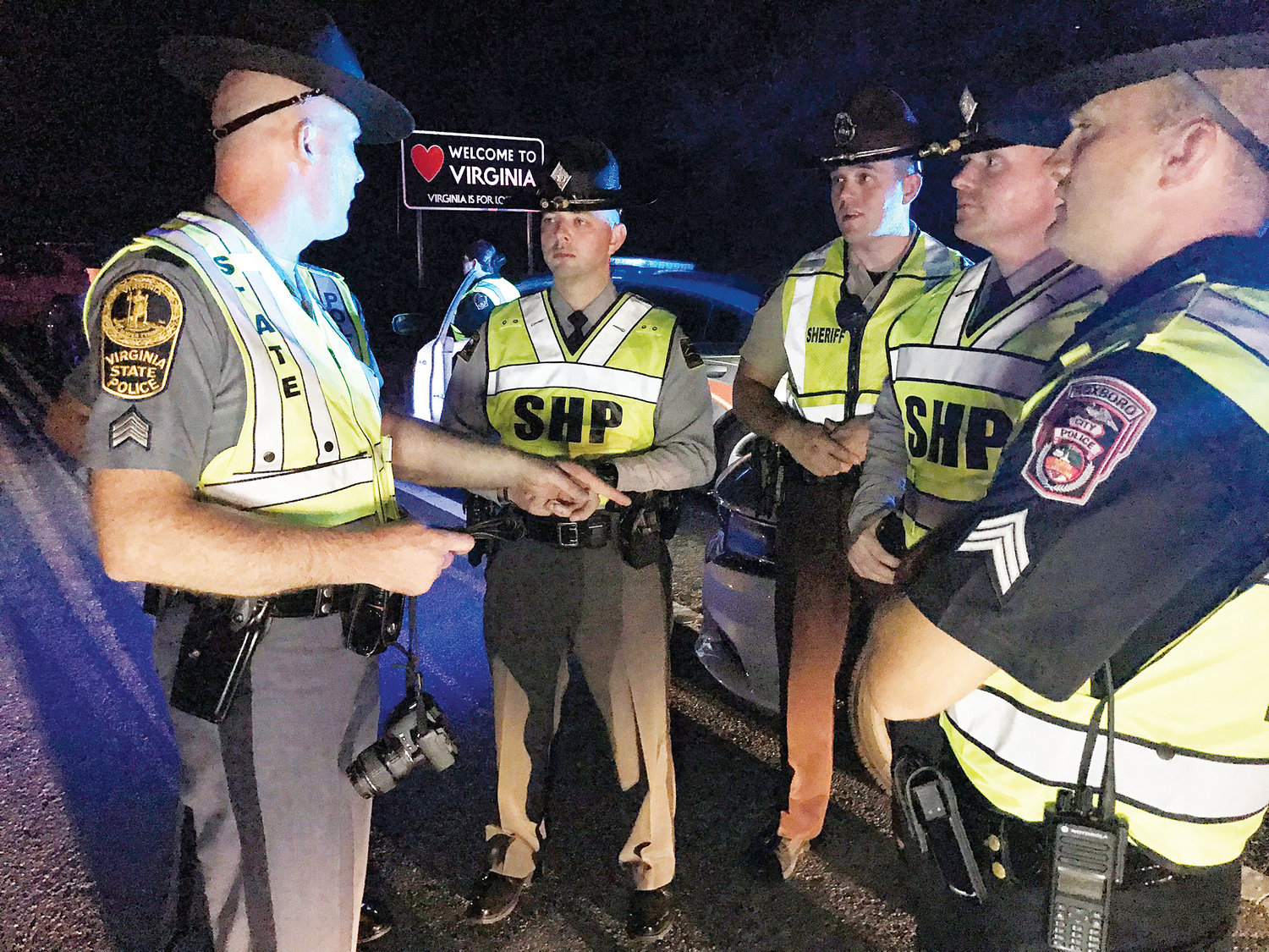 Law enforcement officers from Virginia and North Carolina teamed up to put on a traffic safety checkpoint Friday night.