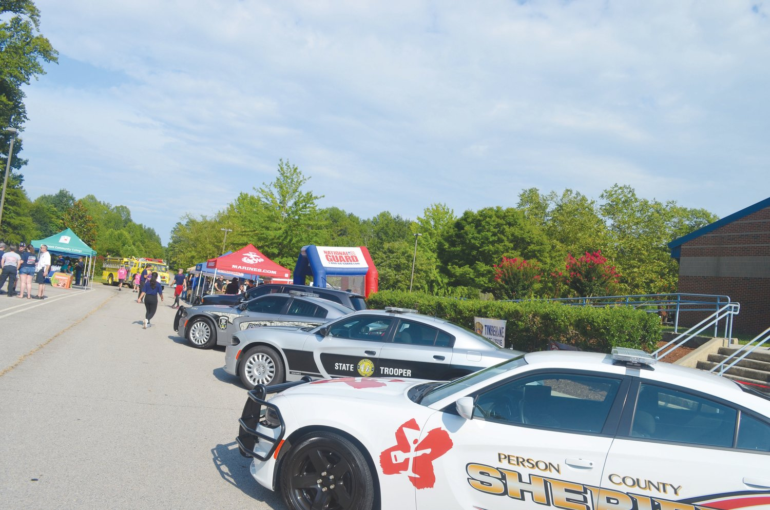 Patrol cars were lined up for Tuesday's National Night Out.