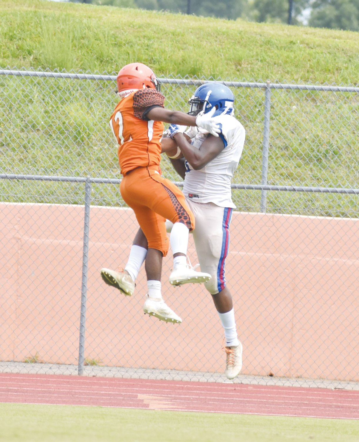 Kelly Snow | The Courier-Times.Person High School receiver Dre Newman makes a touchdown catch on the Rockets' final drive of Saturday's scrimmage against Orange..