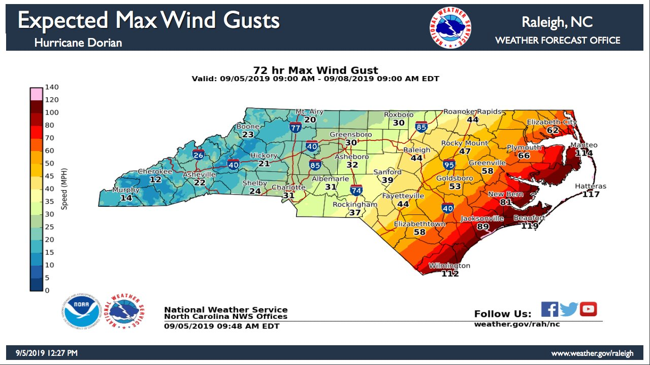 North Carolina's maximum expected wind gusts Thursday-Sunday, according to the National Weather Service Forecast Office in Raleigh.