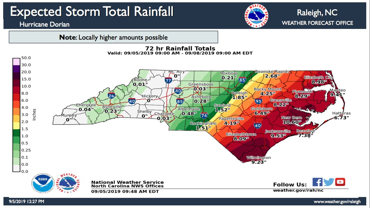 North Carolina's expected rainfall totals Thursday-Sunday, according to the National Weather Service Forecast Office in Raleigh