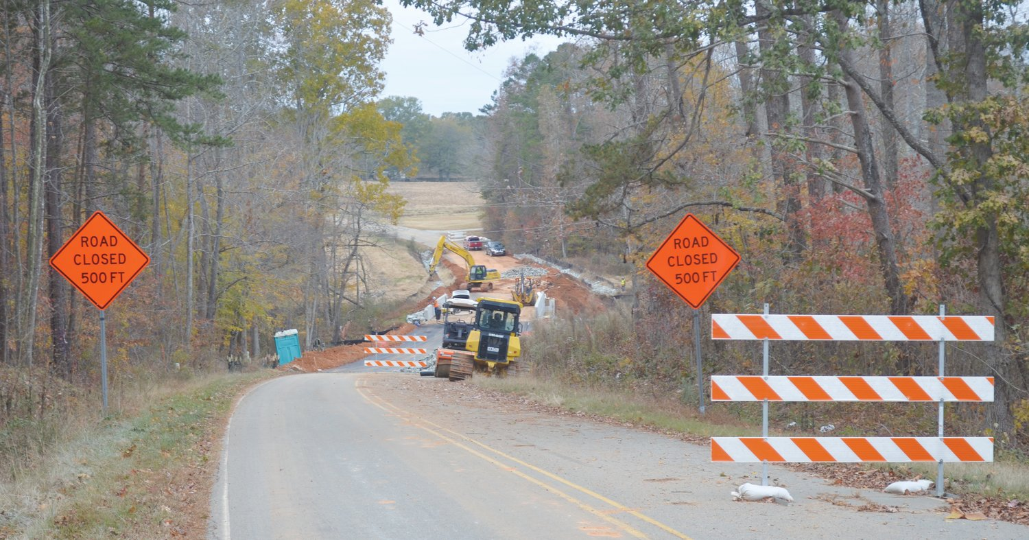 Construction continues on the bridge on Flat River Church Road Thursday Nov. 14. According to NCDOT officials, the project will be completed in the coming weeks.