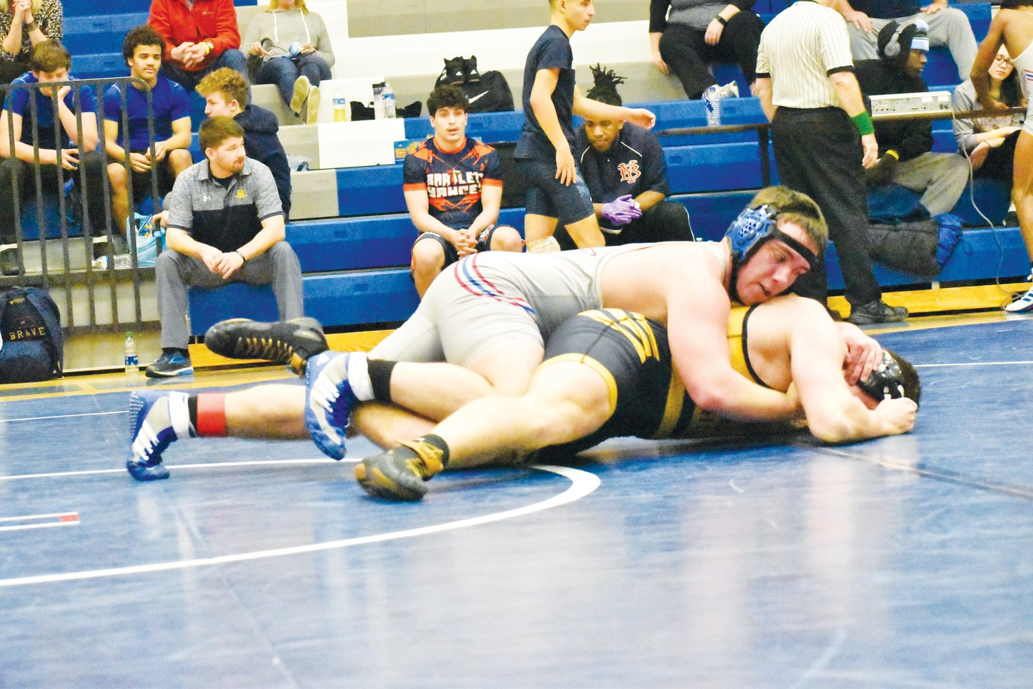 Zackery Lieske, Person's wrestler in the 195 weight class, wrestles with Chapel Hill's Ian Hamilton in their Round Two match in last Saturday's Rocket invitational.