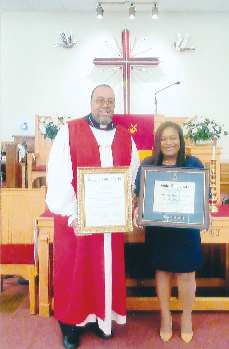 Bishop Gerald K. Franklin, left, and Marlika D. Hairston, were recognized recently by the members of New Ephesus Baptist Church for their academic achievements.