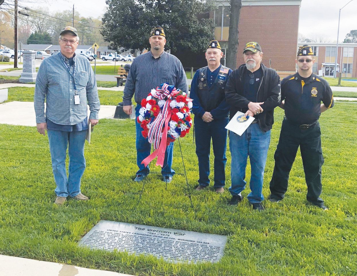 Attendees at the Vietnam War Veterans Day ceremony are, L-R, Richard Vining, Tim Carter, David Bell and Chris Talley.