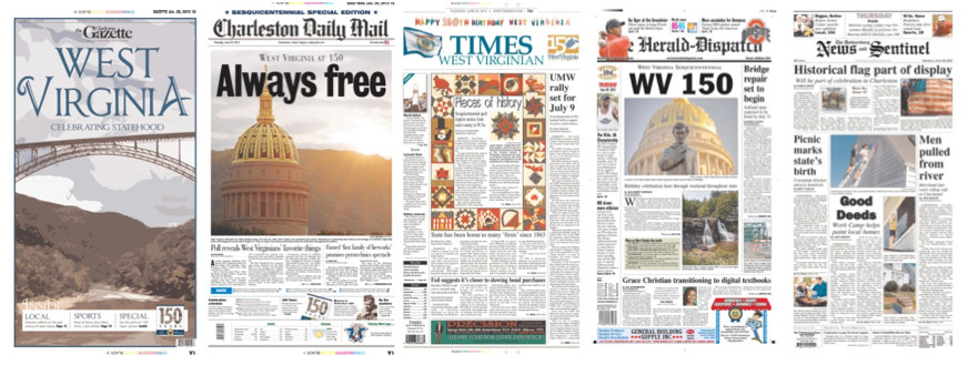 West Virginia papers celebrated the state's 150th anniversary today with some dramatic front pages.