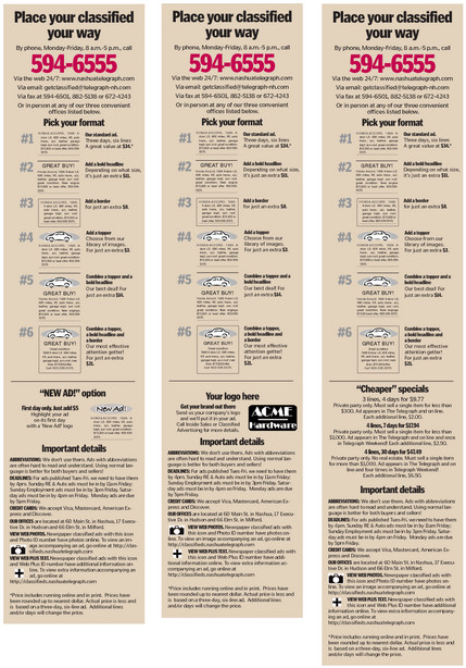 "A sample classified ""menu"" ad. We typically make black and white options, too, and build them in a variety of sizes. It works best when you can put real pricing in the ads, but with so many rates, that is difficult for most papers."