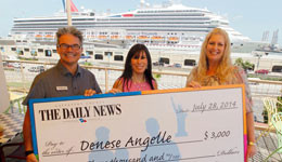 Galveston Publisher Leonard Woolsey, from left, circulation manager Yvonne Mascorro and Dream Vacation winner Denese Angelle on July 28. Angelle won The Daily News' circulation contest prize.