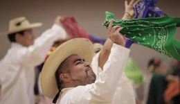Carlos Rodriguez, a dancer with Ballet Folklorico Huehuecoyotl, performed at the kickoff of the Hispanic Families Network at the Walnut Hill Recreation Center in Dallas. (Jim Tuttle/The Dallas Morning News)