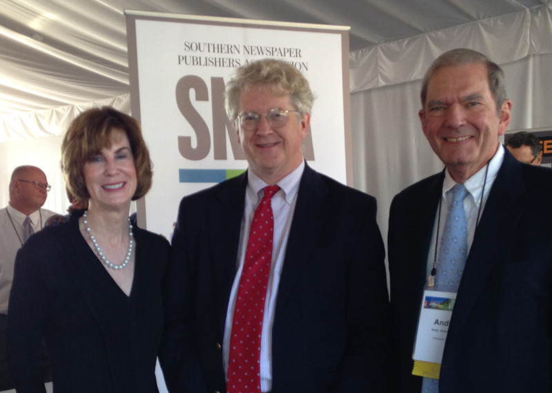 (left to right) Lissa Walls, CEO of Southern Newspapers, Inc.; Charles Rowe, editorial page editor of The Post and Courier, Charleston, S.C.; and Andy Anderson, retired publisher of The Post and Courier and 2015 recipient of the Frank W. Mayborn Leadership Award.
