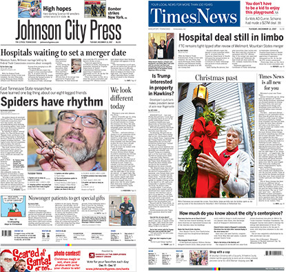 Tuesday's redesigned front pages from the Johnson City Press and Kingsport Times News