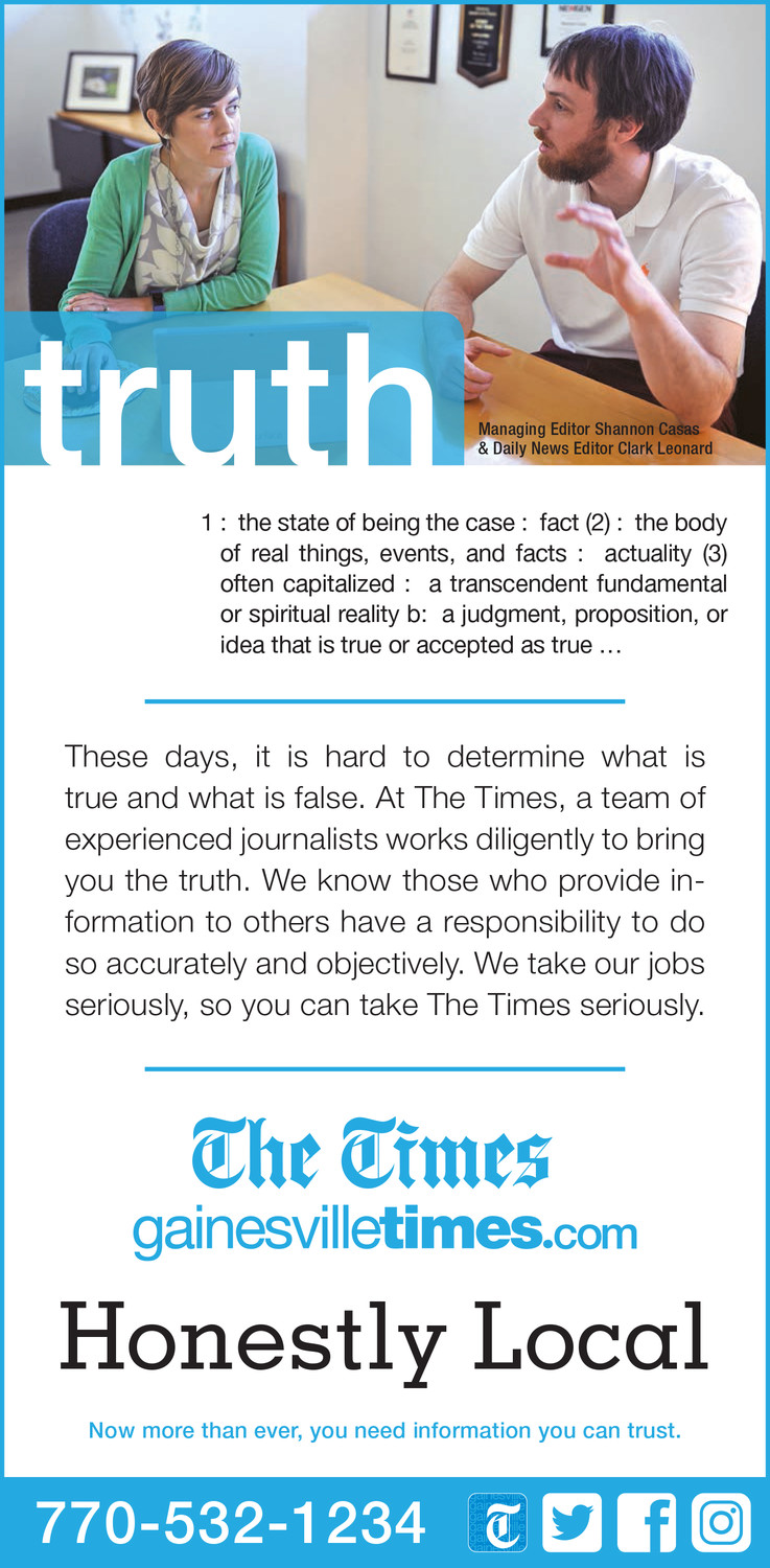 Thank you to The Gainesville Times for being the first SNPA member newspaper to share its local credibility-building ads with us.