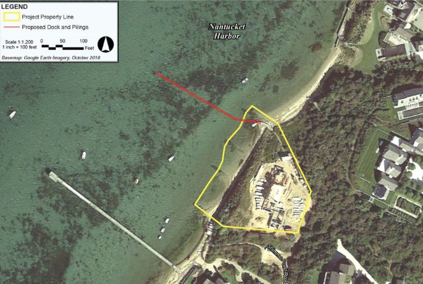 A proposal to install a 300-foot dock, indicated by the red line, from the property at 46 Shimmo Pond Road, outlined in yellow, has met with significant opposition.