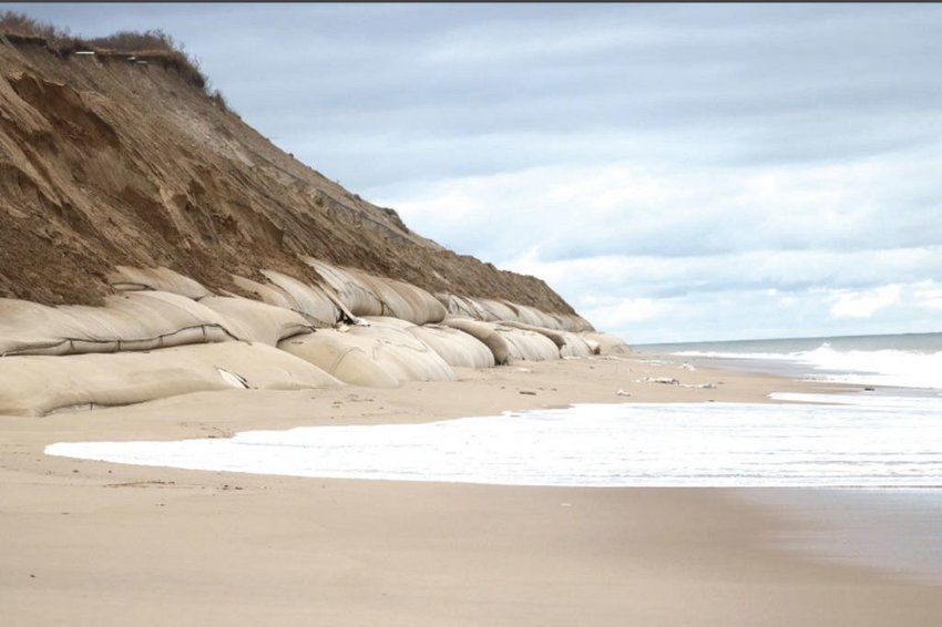 The Sconset Beach Preservation Fund's erosion-control project at the base of the Sankaty Bluff. The SBPF is hoping to expand the geotextile tubing by 3,000 feet.
