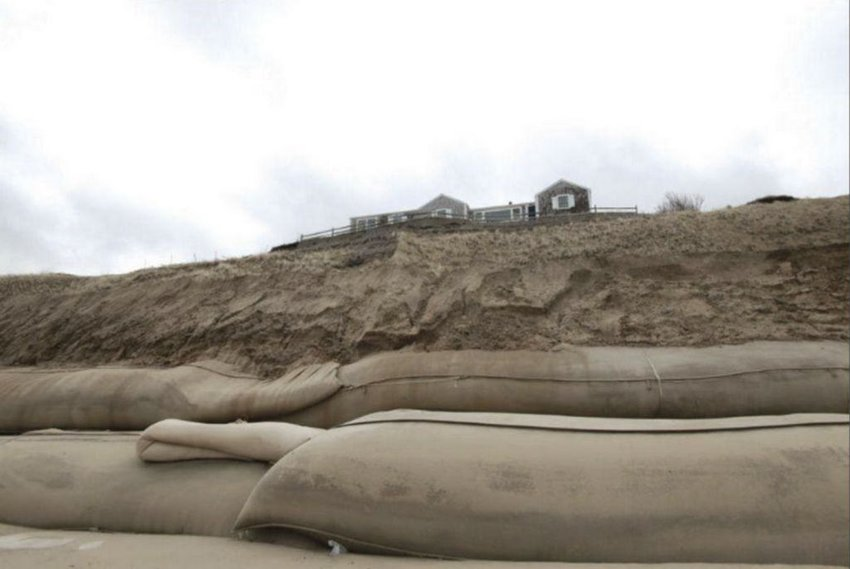 Geotextile tubes at the base of the Sconset Bluff.