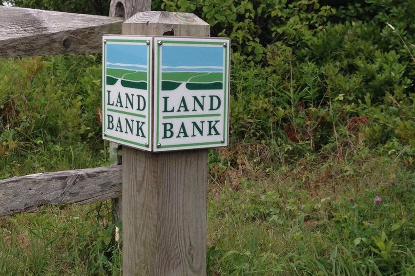 A Nantucket Land Bank property marker.