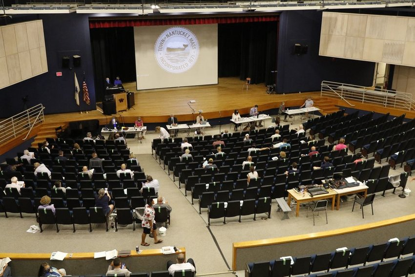 Just under 150 voters attended Thursday's Annual Town Meeting at Nantucket High School.