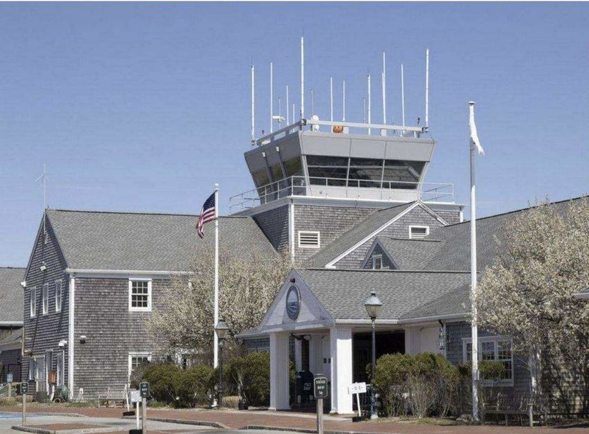 The control tower at Nantucket Memorial Airport.