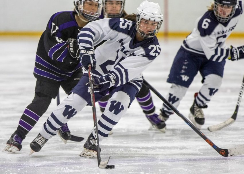 Samantha Lester moves the puck in the Whalers' loss to Martha's Vineyard.