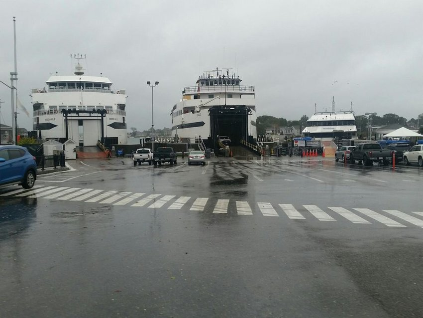 From left, the Steamship Authority's M/V Woods Hole, M/V Eagle and fast ferry Iyanough wait out the storm at the Hyannis terminal Thursday.