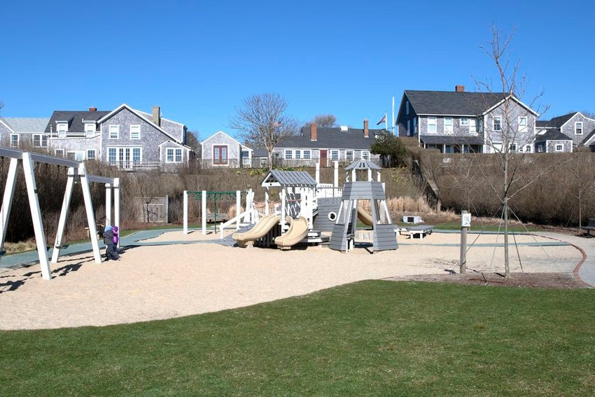 The Nantucket Land Bank's Codfish Park Playground in Sconset. Some want a pergola for shade, others object.
