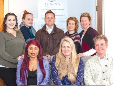 Some of Fairwinds' 39 staff members. Back: Celeste Ikolodo, Hannah Montgomery, Hugh Robbins, Mihaela Ivilova, Athalyn Sweeney. Front: Moirar Leveille, executive director Tessandra de Alberdi and Paul Keeshan.