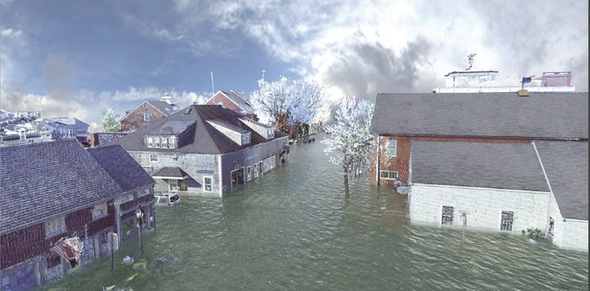 A digital rendering of potential daytime flooding on Broad Street by 2100. The Whaling Museum is to the right, The Juice Bar and Walter's on the left.