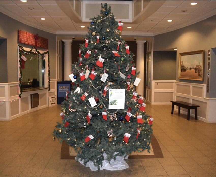 The Giving Tree in the lobby of the Nantucket Public Safety Building on Fairgrounds Road.