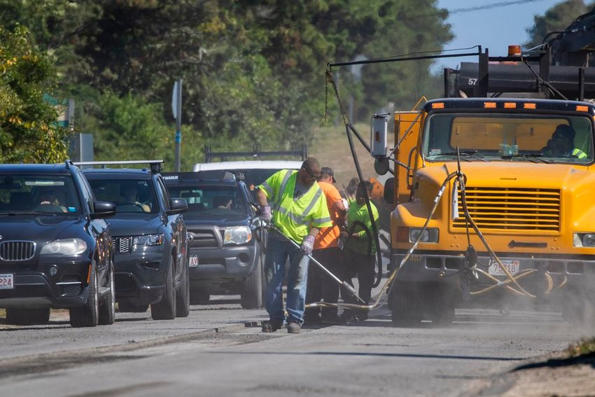 A center-line paving and striping project along Milestone Road backed up traffic in both directions for much of the week.
