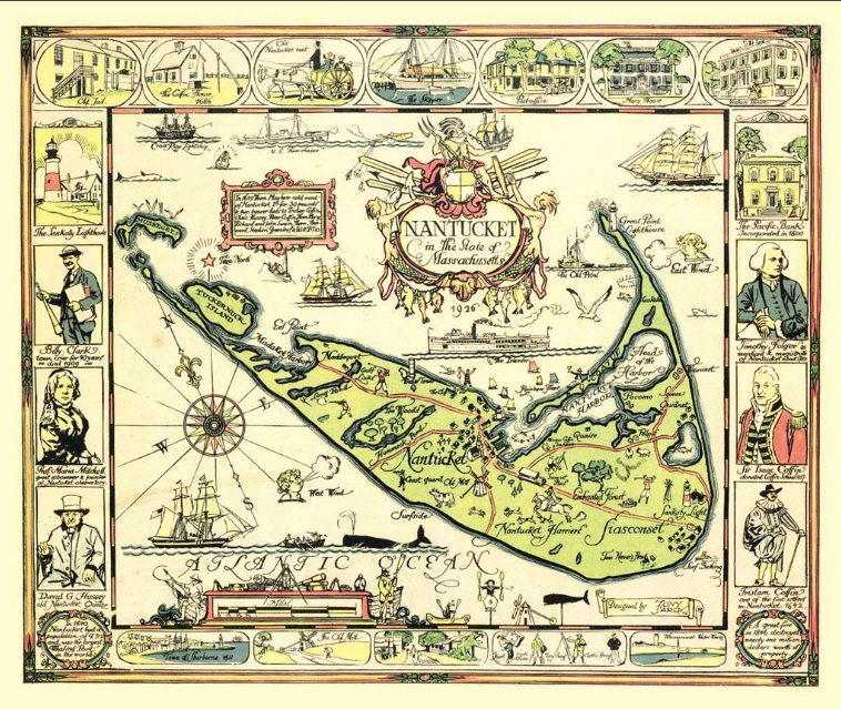 This 1926 map of Nantucket created by the late artist Tony Sarg will be prominently featured as part of the Nantucket Historical Association's exhibit at the 65th annual Winter Show at the Park Avenue Armory in New York City, which runs through Jan. 27.