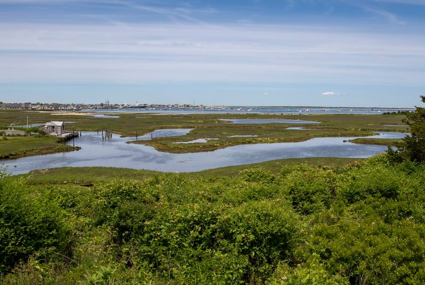The view over the Creeks across the harbor to Brant Point from the Hays' Orange Street property sold to the Land Bank Wednesday.