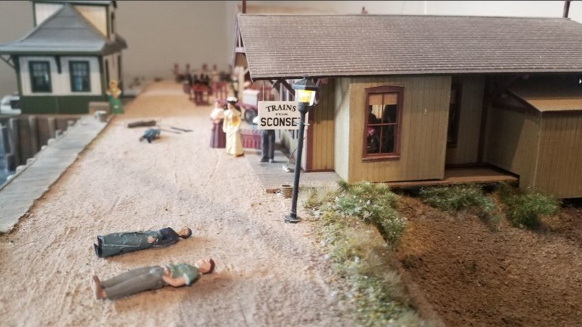 Figurines in the Nantucket Historical Association's model-train diorama were ripped from their stands Thursday afternoon.