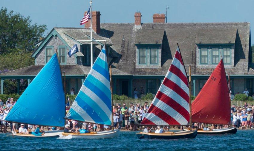 The Rainbow Fleet on Nantucket Harbor prior to the start of Sunday's Opera House Cup wooden-boat regatta.